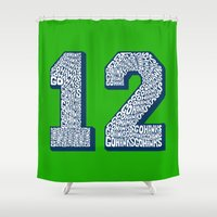 seahawks Shower Curtains featuring Go Hawks 12_2 by Nuart Media Group