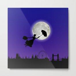 Magical Nanny Over London - purple blue Metal Print