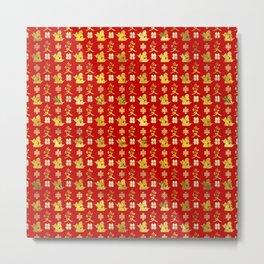 Mandarin Ducks, love and eternal knot pattern Metal Print