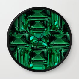 CLUSTERED FACETED EMERALD GREEN MAY GEMSTONES Wall Clock