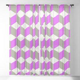 Diamond Repeating Pattern In Violet Purple Grey Sheer Curtain