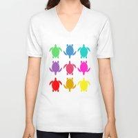 sea turtle V-neck T-shirts featuring TURTLE by Brittney Weidemann