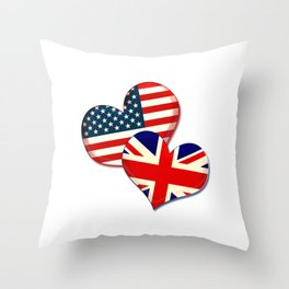 USA and UK hearts Throw Pillow