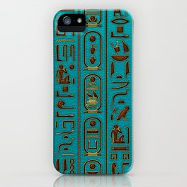 Egyptian Golden Leather hieroglyphs embossed on teal iPhone Case