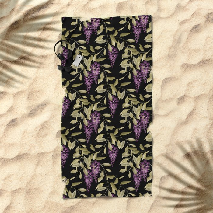 The Branches Of Wisteria . Black . Beach Towel