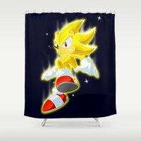 sonic Shower Curtains featuring Super Sonic by Zaukhes