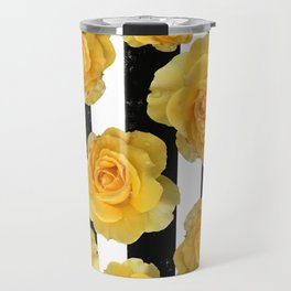 Yellow Roses on Black & White Stripes Travel Mug