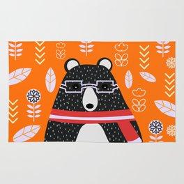Bear in floral rain Rug