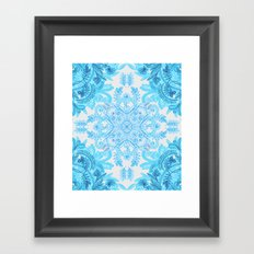 Symmetrical Pattern in Blue and Turquoise Framed Art Print
