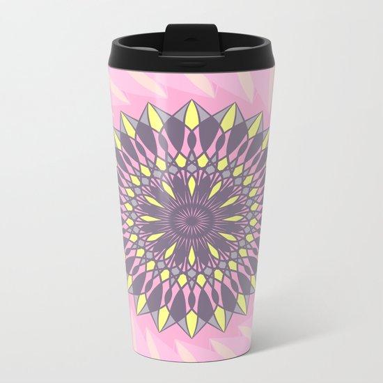 Grey and yellow mandala Metal Travel Mug