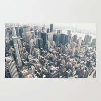 new york skyline Area & Throw Rugs featuring New York City Skyline by Vivienne Gucwa