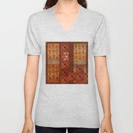 Vintage textile patches Unisex V-Neck