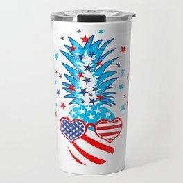 Funny Patriotic Pineapple Travel Mug
