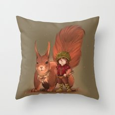 Nino & Roux, Forest child and his fellow Squirrel  Throw Pillow