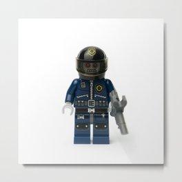 Robot zombie policeman minifig front Metal Print