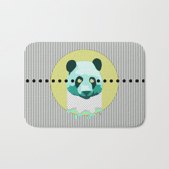 the blue panda who was melting black and white Bath Mat