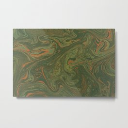 Marbled Green paper Metal Print