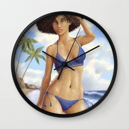 Afro girl bikini Wall Clock