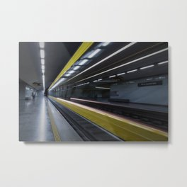 PERSON STANDING NEAR THE TRAIN RAILS INSIDE THE TUNNEL Metal Print