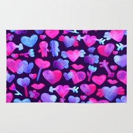 Watercolor romantic design on violet Rug