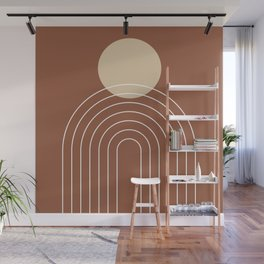 Mid Century Modern Geometric 3 (Terrocatta and beige) Wall Mural