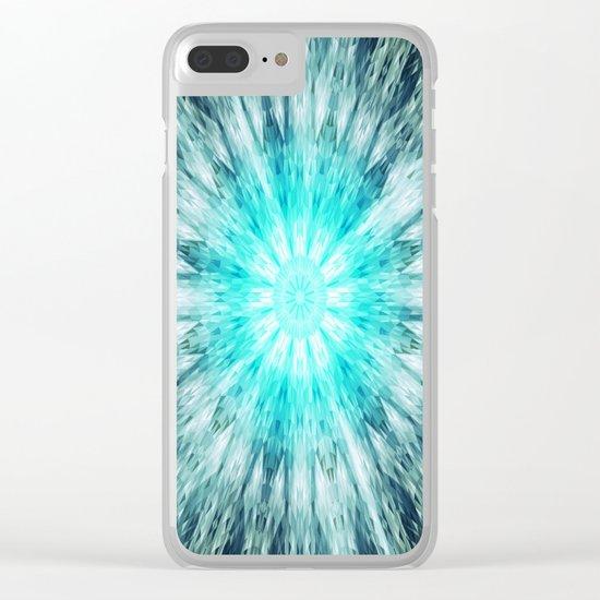 Teal Blue Mandala Clear iPhone Case