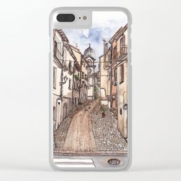 Street view of Corso Carmine Cerisano on the south of Italy Clear iPhone Case