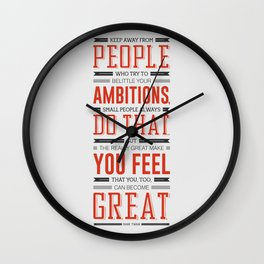 Lab No. 4 Keep Away From People Mark Twain Inspirational Quote Wall Clock