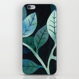 Watercolor leaves in shades of blue and teal iPhone Skin
