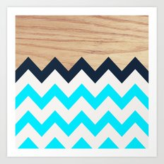 Chevron & Wood Art Print