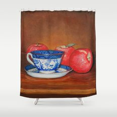 Teacup with Three Apples Shower Curtain