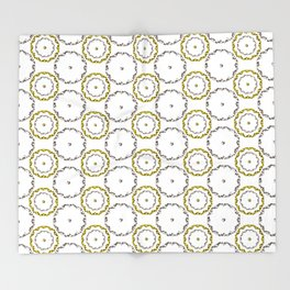 Gold and Silver Rings Polka Dot Pattern Throw Blanket