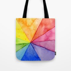 Rainbow Watercolor Geometric Pattern Tote Bag