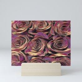 Golden Burgundy Rose Love Mini Art Print