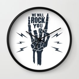 Funny Illustration. Skeleton Arm. We Will Rock You Wall Clock