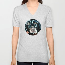Daisy the Black Lab Dog Portrait Unisex V-Neck