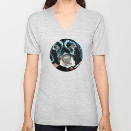 Daisy the Black Lab Dog Portrait Unisex V-Neck