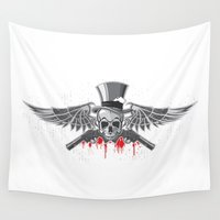 guns Wall Tapestries featuring Angels with Guns by Parrish