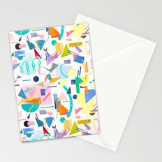 Geometric pop collage pattern Stationery Cards