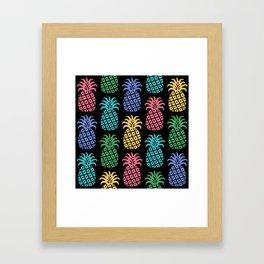 Retro Mid Century Modern Pineapple Pattern in Multi Colors 2 Framed Art Print