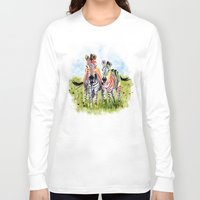 zebra Long Sleeve T-shirts featuring Zebra by Anna Shell