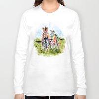 zebra Long Sleeve T-shirts featuring Zebra by Anna Shell