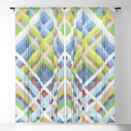 threedimensional geometric retro design Rakshasa Sheer Curtain