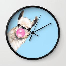 Bubble Gum Sneaky Llama in Blue Wall Clock