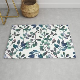 Jade and Succulent Watercolor Plant Pattern Rug