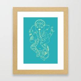 Ganesha Turquoise Framed Art Print