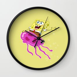 Spongebob Riding Jellyfish Wall Clock