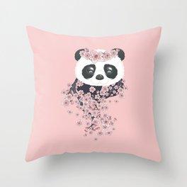 Panda face and Sakura Throw Pillow