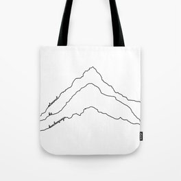 Tallest Mountains in the World B&W / Mt Everest K2 Kanchenjunga / Minimalist Line Drawing Art Print Tote Bag