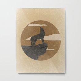 Howling Coyote Desert Landscape Metal Print